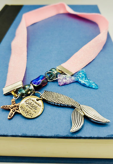 Mermaid Elastic Ribbon Bookmark With Mermaid Kisses & Starfish Wishes Gift