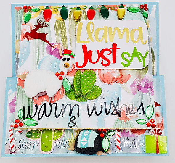 Llama Just Say Warm Wishes & Merry Christmas With Gift Card Slot Greeting Card