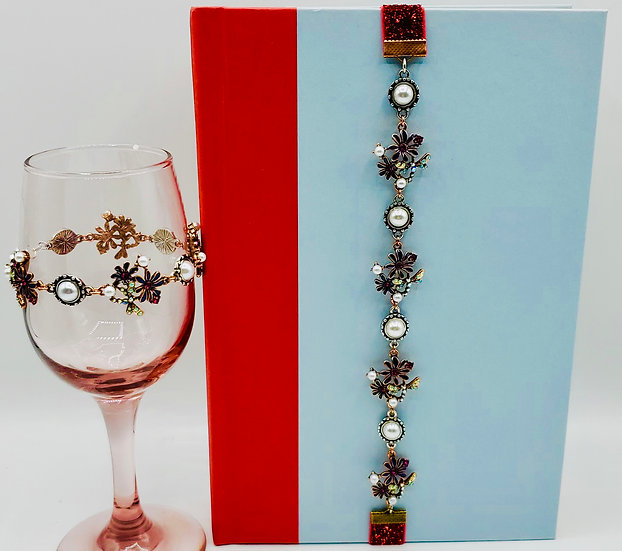 2 Gifts: Bracelet & Bookmark - Dragonflies, Flowers And Pearls Gifts