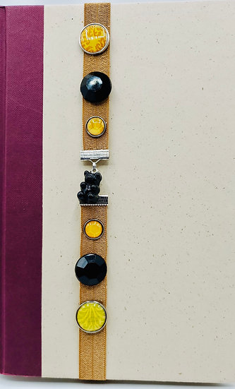 Licorice Gummy Bear Charm Bookmark With Black/Amber Brads On Chipmunk Ribbon