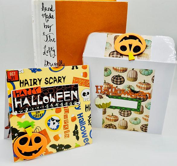 Hairy Scary Happy Halloween My Dream Halloween Sweets & Wine Greeting Card
