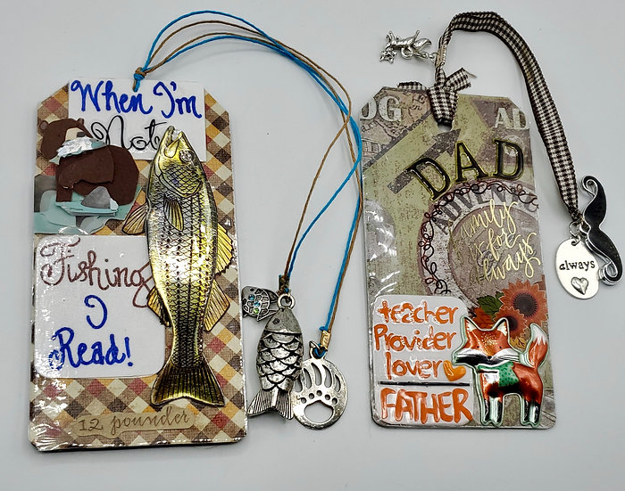 2 Dad Bookmarks - Teacher/Provider/Lover/Father//When I'm Not Fishing I Read