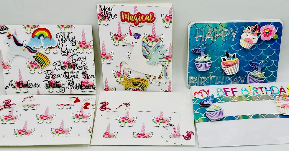 3 Unicorn Cards: Rainbow Farting Unicorn/Magical Unicorn/HBDay My BFF Cards