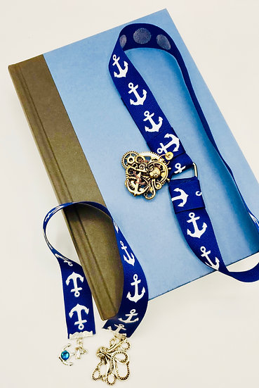 2 Under The Sea Blue Ribbon w/White Anchors: Swarovski Anchor/Bronze Octopus