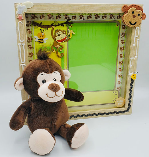 Cutie Pie for Boy or Girl Yellow & Green Scrapbooking Framed Design Gift