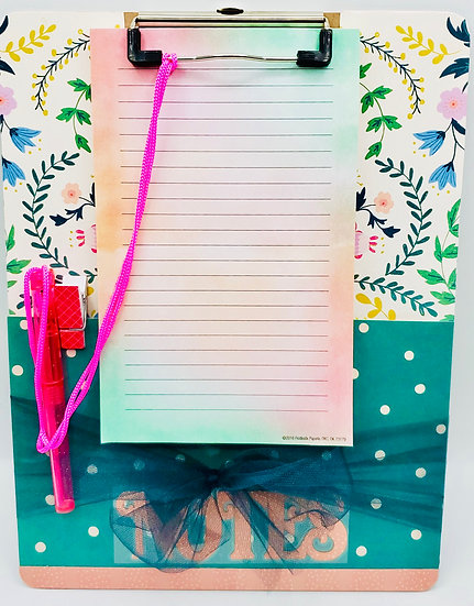 Designer Clipboard: Paisley Pink, Blue & Green Flowery Design And Pink Pen