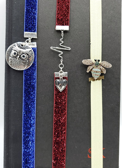 The Owl, Heart & Bee Elastic Glitter Ribbon Bookmarks Gifts