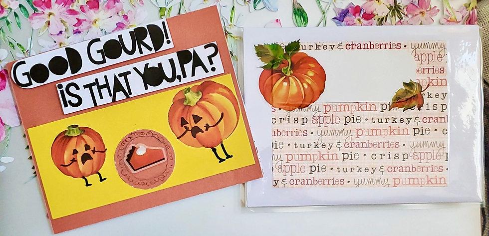 Good Gourd! Is That You, Pa? Pumpkins & Pumpkin Pie Thanksgiving Greeting Card