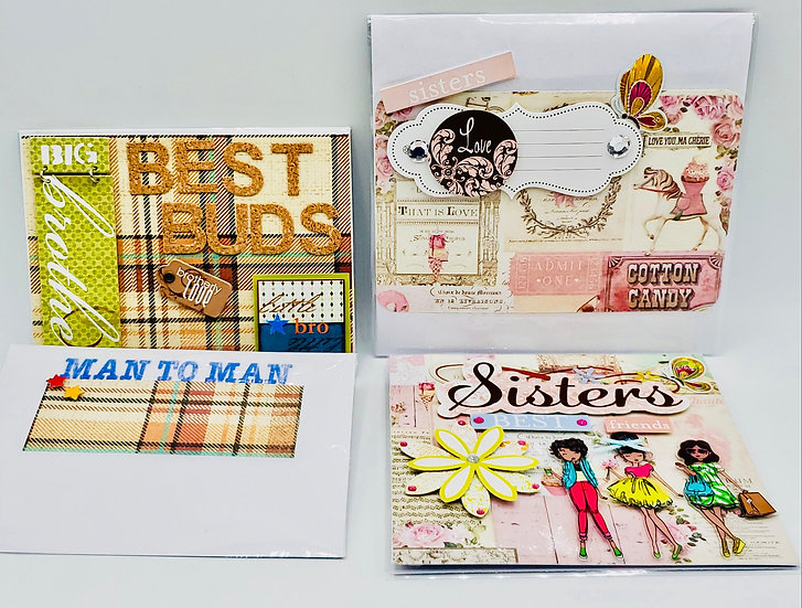 2 Sibling Greeting Cards: Brother - Best Buds/Sisters - Best Friends Cards