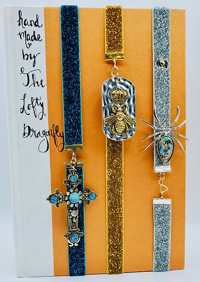 3 Elastic Band Bookmarks: Turquoise Cross, Queen Bee & Silver Spider Glittered