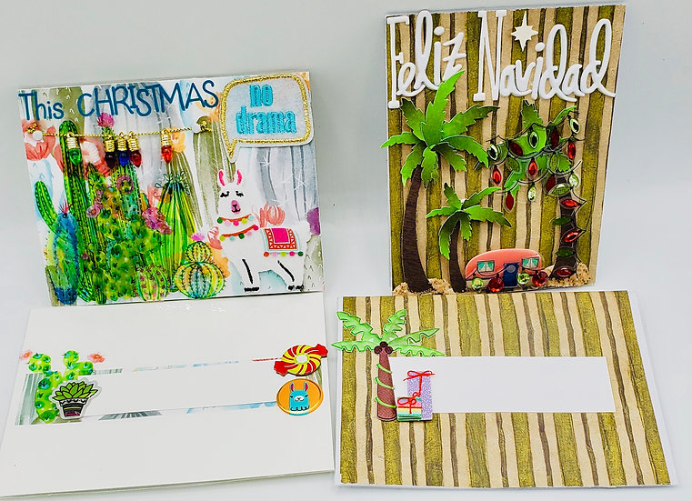 2 Warm Holiday Cards: Feliz Navidad/This Christmas No Drama Llama w/Cactus