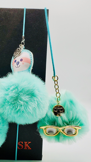 3 Teal Fur Ball Bookmarks/Backpack Charm Gifts: Pug, Sloth, and Glass Wearer