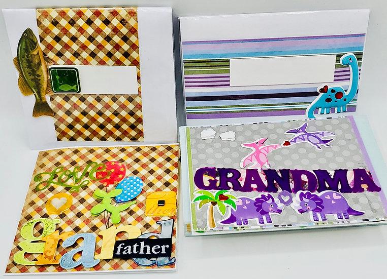 2 Grandparents Greeting Cards: Love Grandfather Card/Grandma Brings Huge Hugs