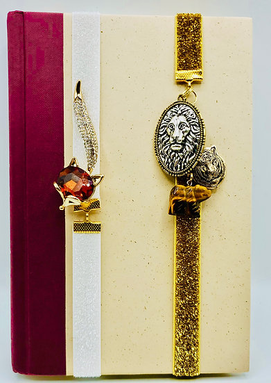 2 Ribbon Bookmarks: Fox Rhinestone Brooch & The Wizard Of Oz Charms Gifts