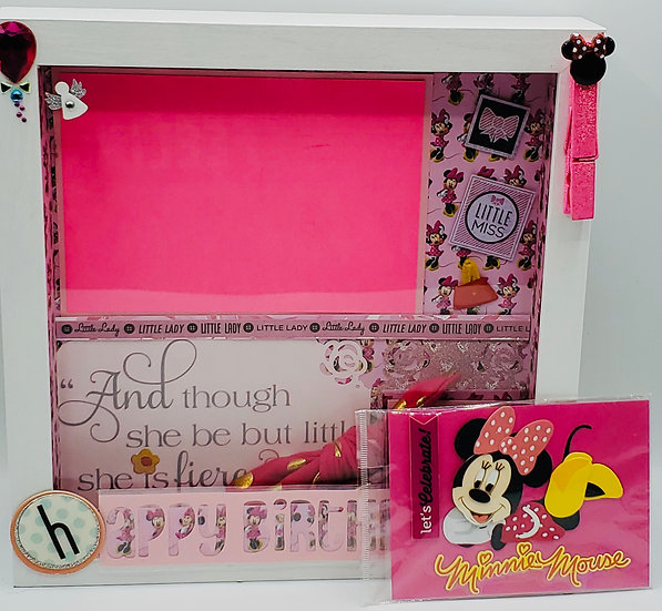 Minnie Mouse -Happy Birthday Girl Scrapbooking Framed Design Gift