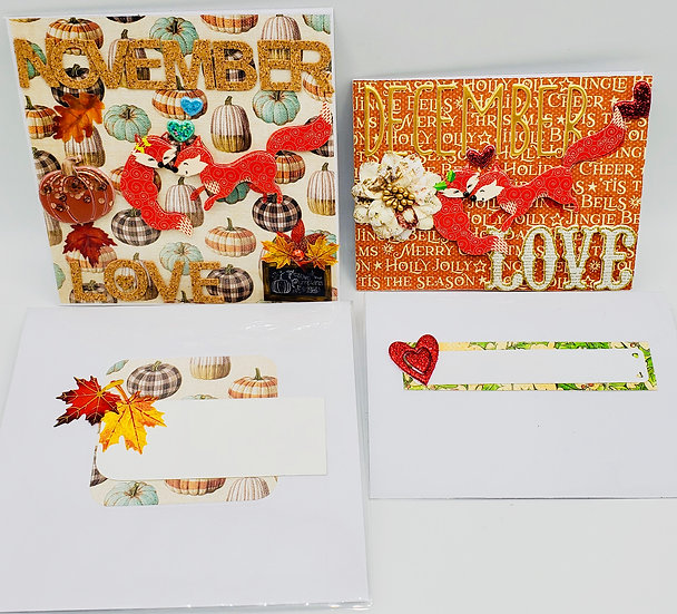 2 Fox Love Cards: November Love Autumn Hugs/December Love Holiday Hugs Cards