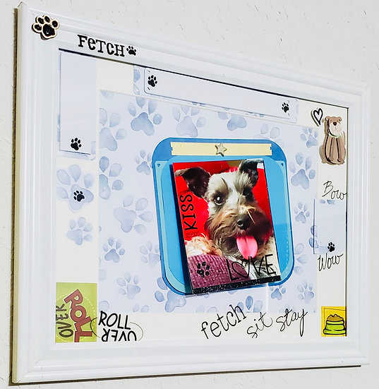 I Love My Dog/Paw Prints Gift Frame/Roll Over Sit Stay Fetch/Dog Lover's Scrap B