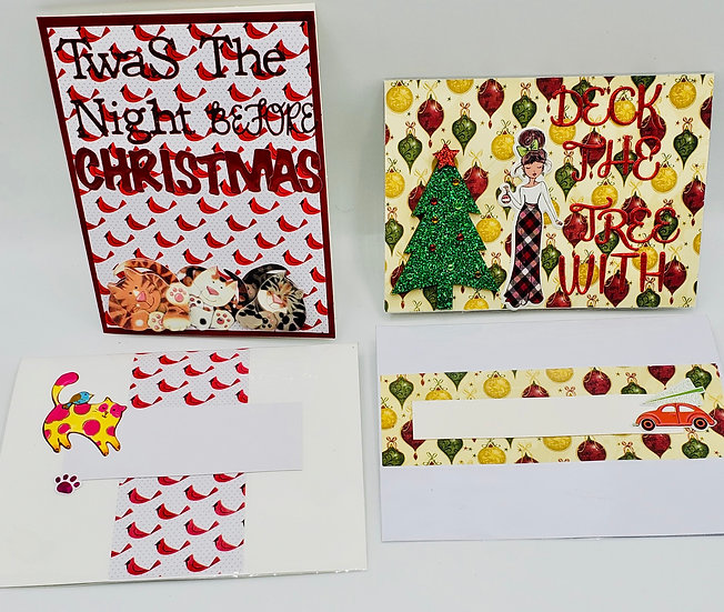 2 Holiday Cards: DeckThe Trees/T'was The Night Before Christmas Holiday Cards