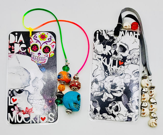 2 Skull Bookmark Gifts: Dia De Los Muertos w/Sugar Skulls & I Want Your Skull