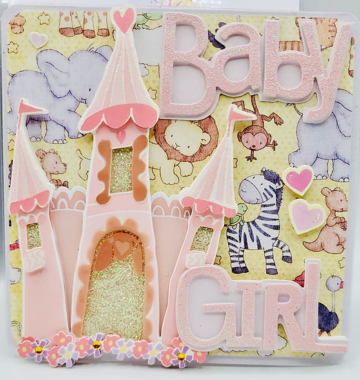 Baby Girl Welcome Sweetheart Pink Castle Baby Shower Greeting Card