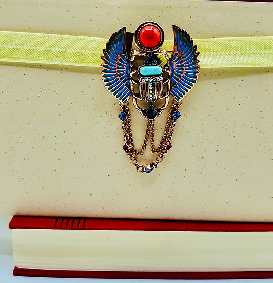 Multicolored Teal Scarab On Daffodil Yellow Elastic Glitter Ribbon Bookmark Gift