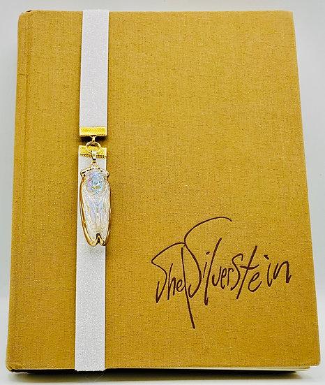 Iridescent Glass Cicada Pendant Elastic White Glitter Ribbon Gift