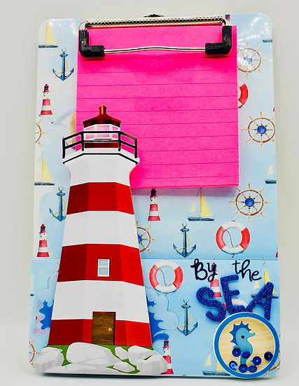 By The Sea Lighthouse Decorated Clipboard Gift For Teachers/Retirees/Kids/Bosses