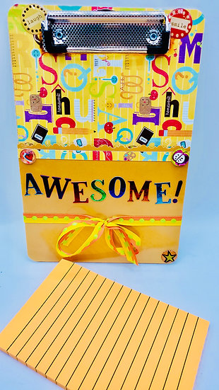 Awesome Mini Clipboard With Pocket & Memo Pad In Bright Yellow And Orange Gift