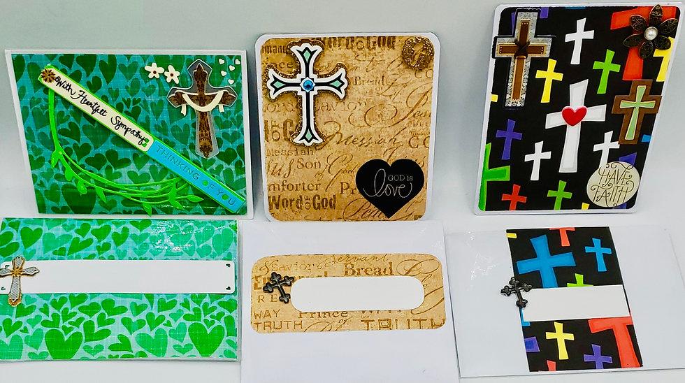 3 Religious Cards: With Heartfelt Sympathy/God Is Love/Have Faith Greeting Cards