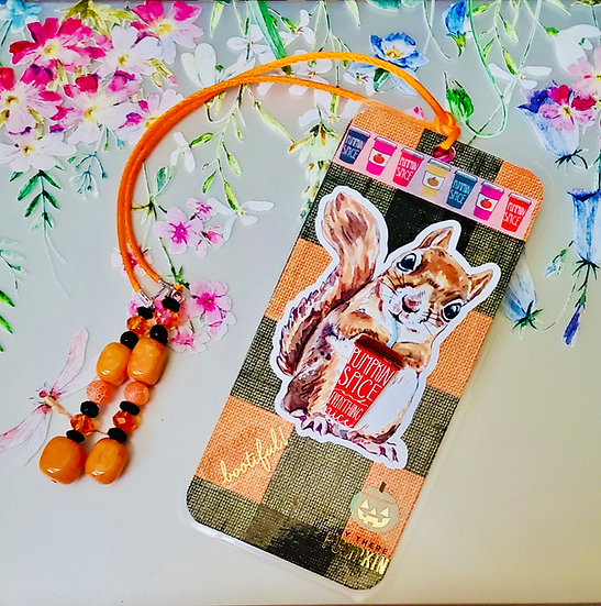 Did You Say Spicy? Squirrel With Pumpkin Spice Venti Latte Bookmark Gift