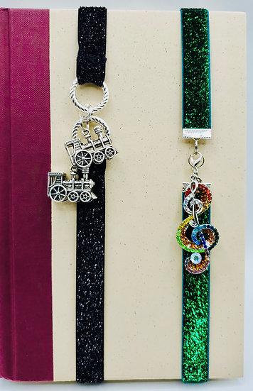 2 Elastic Bookmarks: The Train Black Glitter & Multicolored Treble Clef Green Gl