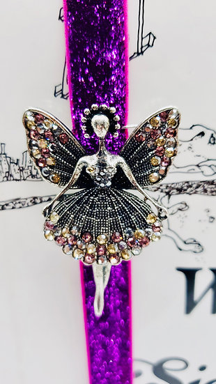 Iridescent Rhinestone Fairy Bookmark On Elastic Purple Glitter Ribbon Gift
