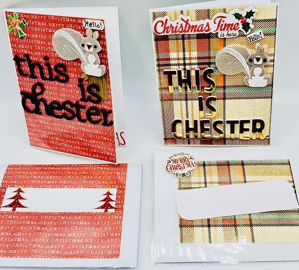 2 This Is Chester. Cards: These Are Chester's Nuts Roasting On An Open Fire Xmas