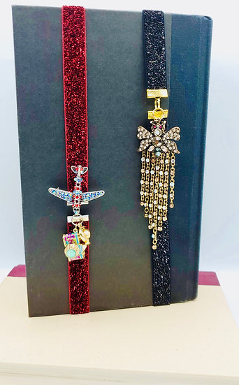 2 On The Wings Bookmarks: Plane/Camera/Globe And Flowing Rhinestone Bee