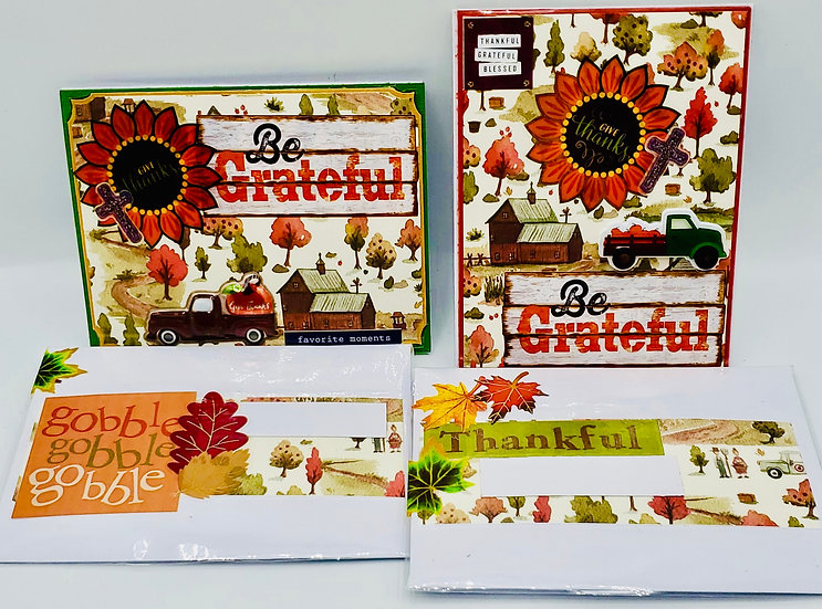 2 Give Thanks And Be Grateful Thanksgiving Cards: Pickup Truck & Pumpkin Cards