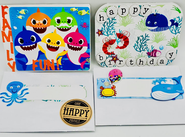 2 Water Animal Cards: Family Fun with Baby Shark Family/Happy Birthday Whaley