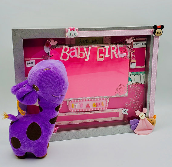 Baby Girl w/Pacifier (I Love Mom) & Purple/Brown Stuffed Giraffe