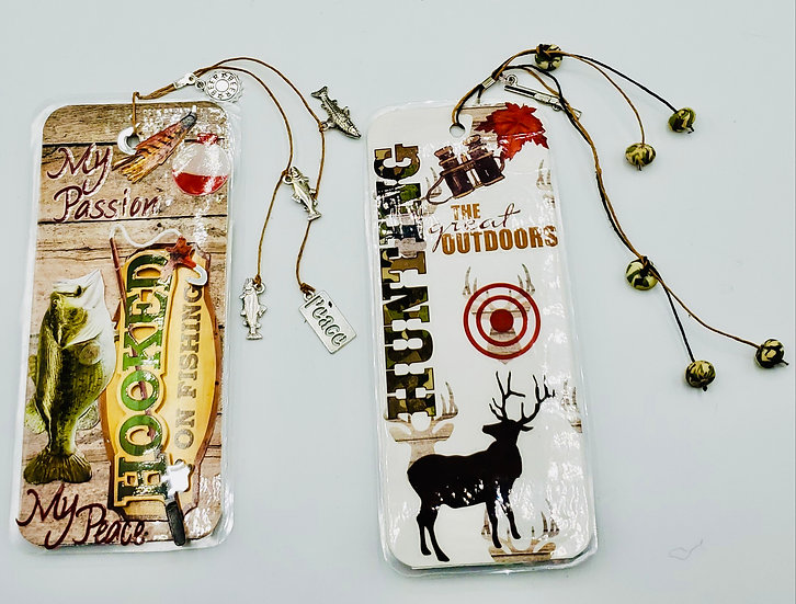 2 Bookmarks: Fishing and Hunting Bookmark Gifts
