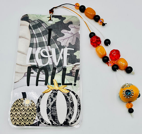 I Love Fall!  Pumpkins Too! Bookmark Gift W/Black & White Pumpkins And Squirrel