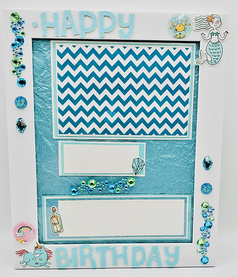 Happy Birthday Scrapbooking Design/Aquamarine Mermaid Unicorn March Birthday