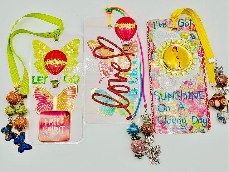 3 Love Bookmarks: Let Go Let It Flow/Love Is Like A Butterfly/I've Got Sunshine