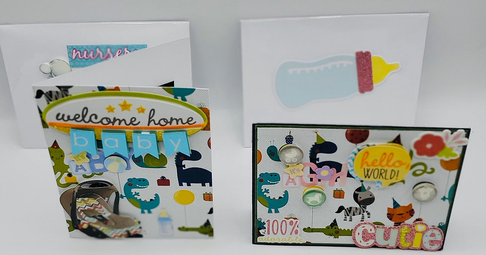 2 Baby Cards: Welcome Home Baby It's A Boy/Hello World! 100% Cutie It's a Girl