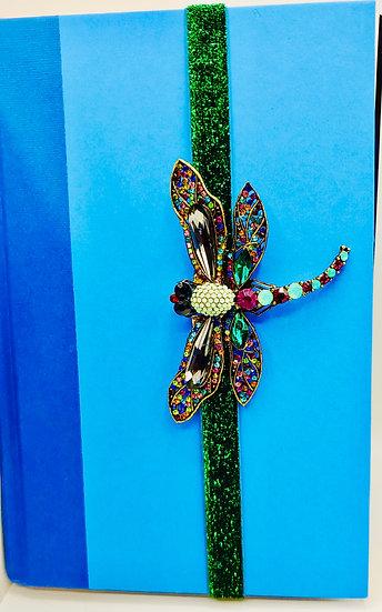 Dragonfly Rhinestone Brooch Elastic Ribbon Bookmark Gift