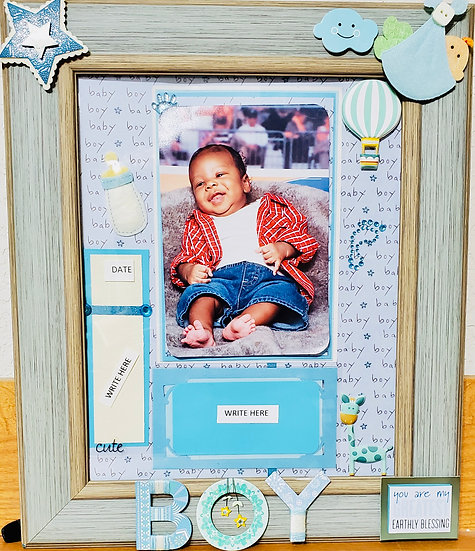 Baby Boy You Are My Greatest Earthly Blessing Scrapbooking Framed Design Gift