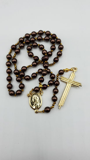 Catholic Rosary Brown Colored Pearls With Gold Colored Crystals