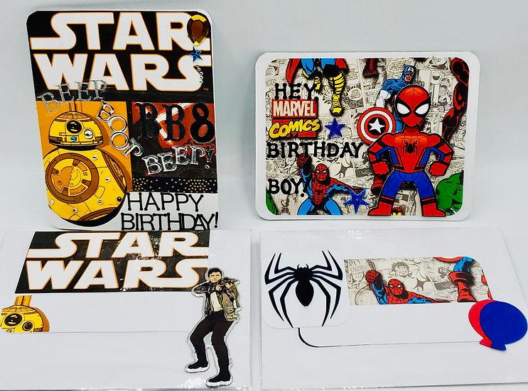 2 Hero Cards: BB8 Say Beep! Boop! (Happy Bday)/Hey, Birthday Boy Spiderman Card