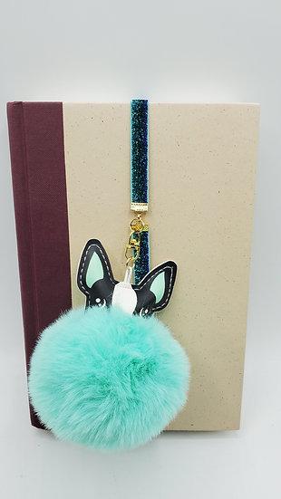 Furry Ball Elastic Bookmark Or Backpack Charm: Teal/Black/White Pug Face Gift