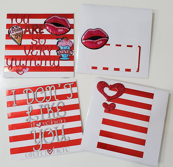 2 Striped Love Cards: You R Yummy. So Sweet/I Don't Like It When You Aren't Here
