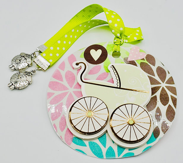 Oh, Baby Gift Tag For Baby Shower/Carriage/Stroller/Brown & Green Pram Gift Tag