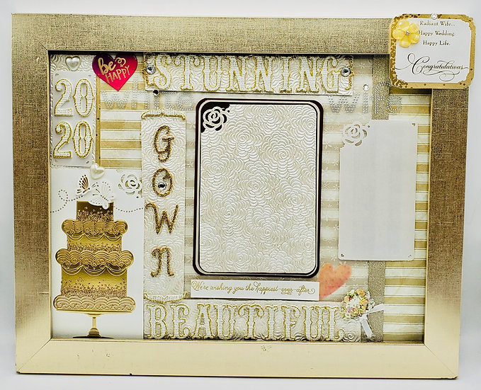 Stunning White Gown/Beautiful Wife Scrapbooking Framed Design Gift